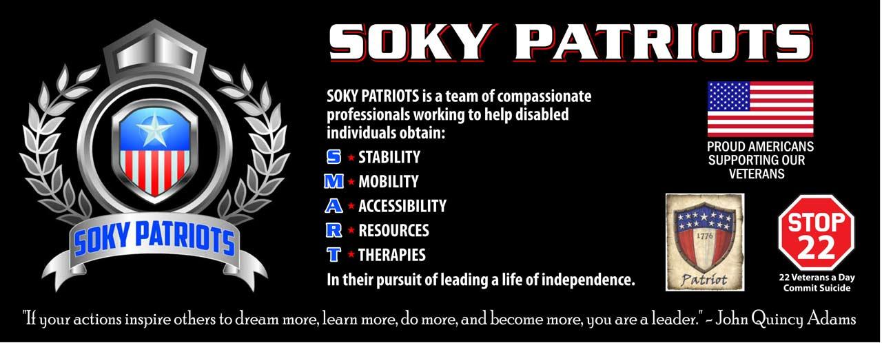 SOKY Patriots helping disabled veterans banner.
